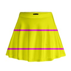 Background Image Horizontal Lines And Stripes Seamless Tileable Magenta Yellow Mini Flare Skirt
