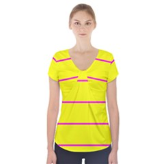 Background Image Horizontal Lines And Stripes Seamless Tileable Magenta Yellow Short Sleeve Front Detail Top