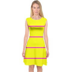 Background Image Horizontal Lines And Stripes Seamless Tileable Magenta Yellow Capsleeve Midi Dress
