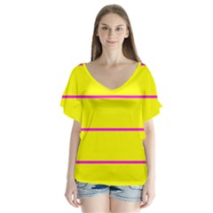 Background Image Horizontal Lines And Stripes Seamless Tileable Magenta Yellow Flutter Sleeve Top