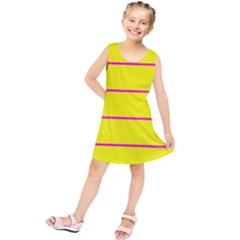 Background Image Horizontal Lines And Stripes Seamless Tileable Magenta Yellow Kids  Tunic Dress