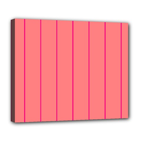 Background Image Vertical Lines And Stripes Seamless Tileable Deep Pink Salmon Deluxe Canvas 24  X 20