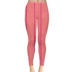 Background Image Vertical Lines And Stripes Seamless Tileable Deep Pink Salmon Leggings