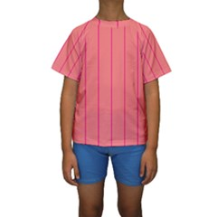 Background Image Vertical Lines And Stripes Seamless Tileable Deep Pink Salmon Kids  Short Sleeve Swimwear