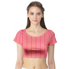 Background Image Vertical Lines And Stripes Seamless Tileable Deep Pink Salmon Short Sleeve Crop Top (tight Fit)