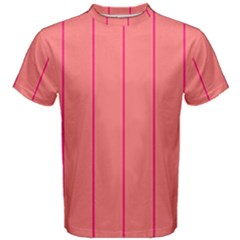 Background Image Vertical Lines And Stripes Seamless Tileable Deep Pink Salmon Men s Cotton Tee