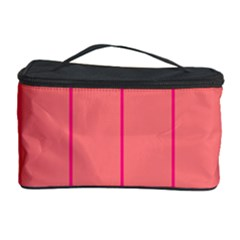 Background Image Vertical Lines And Stripes Seamless Tileable Deep Pink Salmon Cosmetic Storage Case