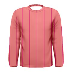 Background Image Vertical Lines And Stripes Seamless Tileable Deep Pink Salmon Men s Long Sleeve Tee