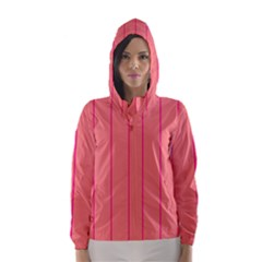 Background Image Vertical Lines And Stripes Seamless Tileable Deep Pink Salmon Hooded Wind Breaker (women)