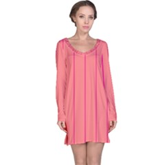 Background Image Vertical Lines And Stripes Seamless Tileable Deep Pink Salmon Long Sleeve Nightdress