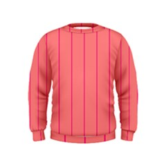 Background Image Vertical Lines And Stripes Seamless Tileable Deep Pink Salmon Kids  Sweatshirt