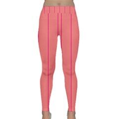 Background Image Vertical Lines And Stripes Seamless Tileable Deep Pink Salmon Classic Yoga Leggings