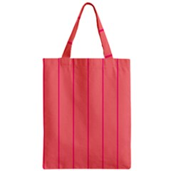 Background Image Vertical Lines And Stripes Seamless Tileable Deep Pink Salmon Zipper Classic Tote Bag