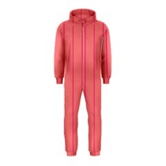 Background Image Vertical Lines And Stripes Seamless Tileable Deep Pink Salmon Hooded Jumpsuit (kids)
