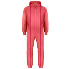 Background Image Vertical Lines And Stripes Seamless Tileable Deep Pink Salmon Hooded Jumpsuit (men)