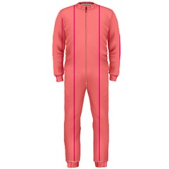 Background Image Vertical Lines And Stripes Seamless Tileable Deep Pink Salmon Onepiece Jumpsuit (men)