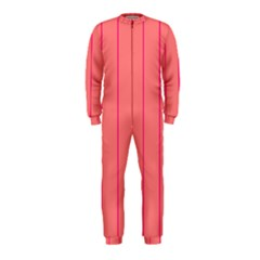 Background Image Vertical Lines And Stripes Seamless Tileable Deep Pink Salmon Onepiece Jumpsuit (kids)