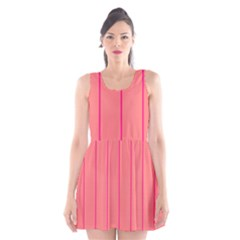 Background Image Vertical Lines And Stripes Seamless Tileable Deep Pink Salmon Scoop Neck Skater Dress