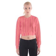 Background Image Vertical Lines And Stripes Seamless Tileable Deep Pink Salmon Women s Cropped Sweatshirt