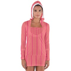 Background Image Vertical Lines And Stripes Seamless Tileable Deep Pink Salmon Women s Long Sleeve Hooded T-shirt