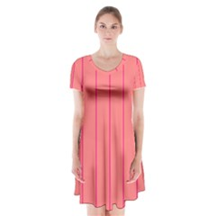 Background Image Vertical Lines And Stripes Seamless Tileable Deep Pink Salmon Short Sleeve V-neck Flare Dress