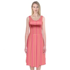 Background Image Vertical Lines And Stripes Seamless Tileable Deep Pink Salmon Midi Sleeveless Dress