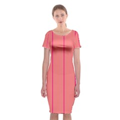 Background Image Vertical Lines And Stripes Seamless Tileable Deep Pink Salmon Classic Short Sleeve Midi Dress