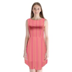 Background Image Vertical Lines And Stripes Seamless Tileable Deep Pink Salmon Sleeveless Chiffon Dress