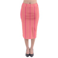 Background Image Vertical Lines And Stripes Seamless Tileable Deep Pink Salmon Midi Pencil Skirt