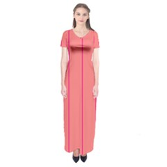 Background Image Vertical Lines And Stripes Seamless Tileable Deep Pink Salmon Short Sleeve Maxi Dress