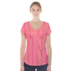 Background Image Vertical Lines And Stripes Seamless Tileable Deep Pink Salmon Short Sleeve Front Detail Top