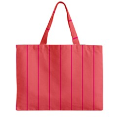 Background Image Vertical Lines And Stripes Seamless Tileable Deep Pink Salmon Medium Zipper Tote Bag