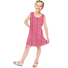 Background Image Vertical Lines And Stripes Seamless Tileable Deep Pink Salmon Kids  Tunic Dress