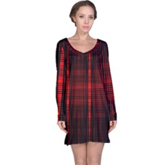 Black And Red Backgrounds Long Sleeve Nightdress