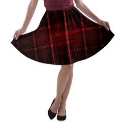 Black And Red Backgrounds A Line Skater Skirt