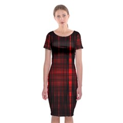 Black And Red Backgrounds Classic Short Sleeve Midi Dress