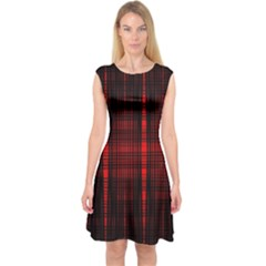 Black And Red Backgrounds Capsleeve Midi Dress