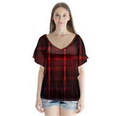 Black And Red Backgrounds Flutter Sleeve Top