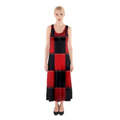Black And Red Backgrounds Sleeveless Maxi Dress