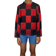Black And Red Backgrounds Kids  Long Sleeve Swimwear