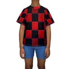 Black And Red Backgrounds Kids  Short Sleeve Swimwear