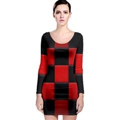 Black And Red Backgrounds Long Sleeve Bodycon Dress