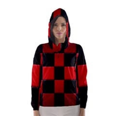 Black And Red Backgrounds Hooded Wind Breaker (women)