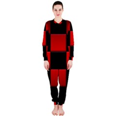 Black And Red Backgrounds Onepiece Jumpsuit (ladies)