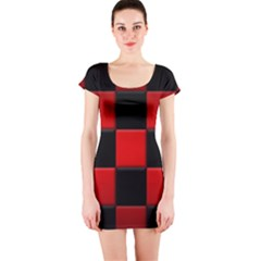 Black And Red Backgrounds Short Sleeve Bodycon Dress