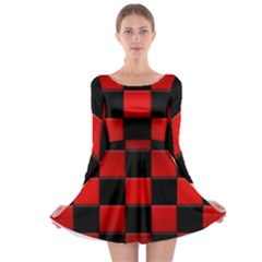 Black And Red Backgrounds Long Sleeve Skater Dress