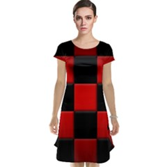 Black And Red Backgrounds Cap Sleeve Nightdress