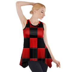 Black And Red Backgrounds Side Drop Tank Tunic