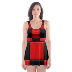 Black And Red Backgrounds Skater Dress Swimsuit