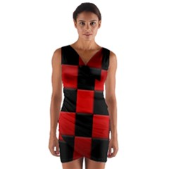 Black And Red Backgrounds Wrap Front Bodycon Dress